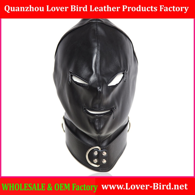 Sex Toys Black Faux Leather Full Sex Hood Mask Latex Costume Fetish Bondage Hood with Eye & Mouth Zipper Tailor Made Adult Games
