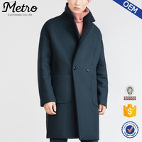 Custom Made Men Blue Oversized Lapel Collar Coats