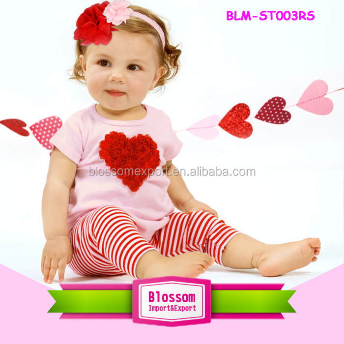 Wholesale Children's Valentine Clothing Set Outfit Red Raglan Shirts Icing Ruffle Pant Set Boutique Valentine's Day Outfits