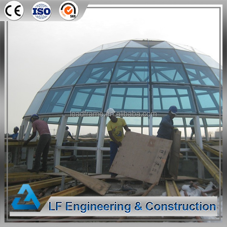 Prefabricated steel structure tempered glass dome with base