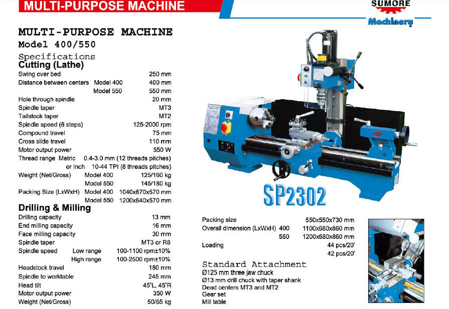 China universal drilling machine SP2302 SUMORE bush drilling machine for sale