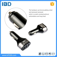 IBD New products oem logo rohs high quality 3.6-6.5v 3a QC3.0 car charger dual usb support 5v 2.4a charging for ipad/laptop