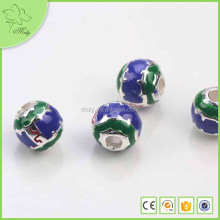 Factory Direct Indian925 Silver Big Hole Tube Cloisonne Enamel Beads