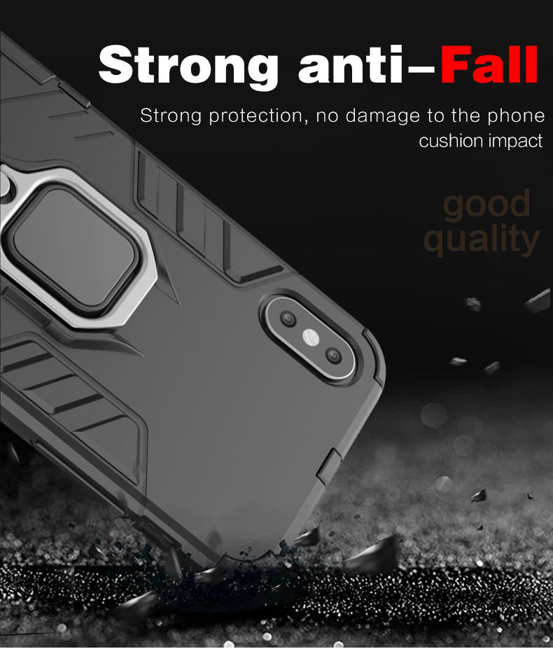 Magnetic Attraction Metal Ring Grip Holder Shockproof Bumper mobile phone case back cover for iphone x xs xs max case