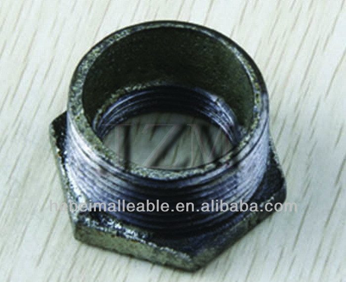 "3/4""NPT black malleable cast iron pipe fitting reducing hex bushing"