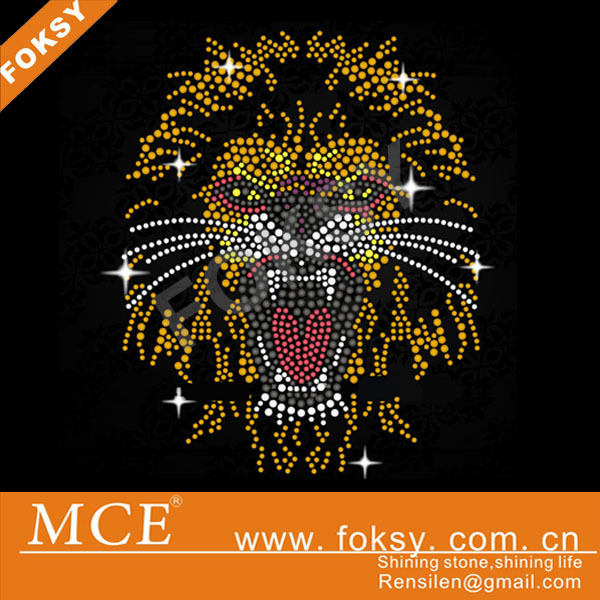special design rhinestones heat transfers lion head