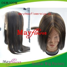 6a grade brazilian full lace wig silky straight with clear middle parting bleached knots factory price Qingdao