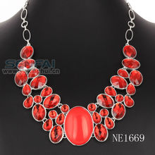 2015 hot sale fashion necklace red statement ruby beads necklace design