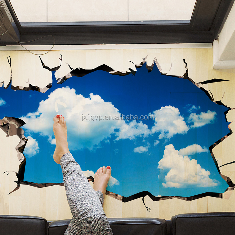 Removeable creative PVC 3D wall sticker 3D window wall floor paper beautiful universe home decor