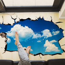 Removeable creative PVC 3D wall sticker 3D wall floor paper beautiful sky home decor