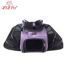 Custom logo airline approved mesh fold-able travel expandable pet carrier for Small Pet Puppy Cat