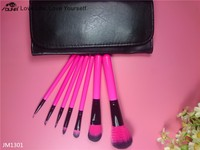 OUNA black 7 pcs portable makeup brush with PU pouch makeup brush
