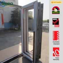 wood color uPVC exterior folding doors with hurricane impact glass