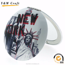 Top quality new york souvenir,custom pocket cosmetic mirror for souvenir gift