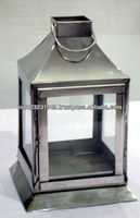 Stainless Steel Candle Lantern with Slant Roof Design
