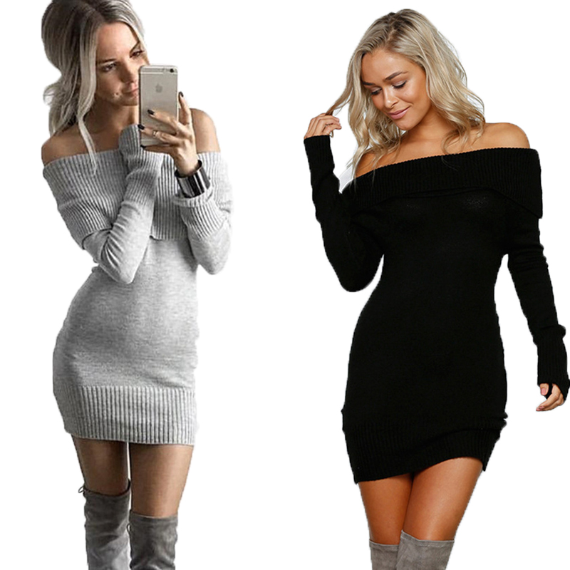 Hot sale European style off <strong>shoulder</strong> women slim fit sweater dress