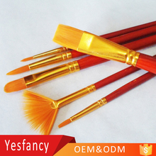 hot sale golden nylon hair round head wood artist watercolor paint brush professional round brush