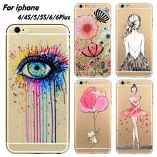 For iPhone 4 4S 5 5S 6 6s 6plus Ultra Soft Silicon Transparent Lovely Eyes Girl Flowers Printed Phone Case Cover