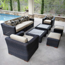 Luxury 8 piece two coffee tables round wicker patio conversation set leisure ways outdoor furniture