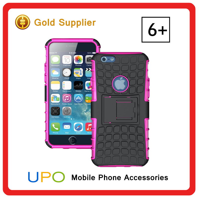 [UPO] Factory Wholesale Hybrid Silicone PC Back Combo Case Cover for iphone 6 plus with Kickstand