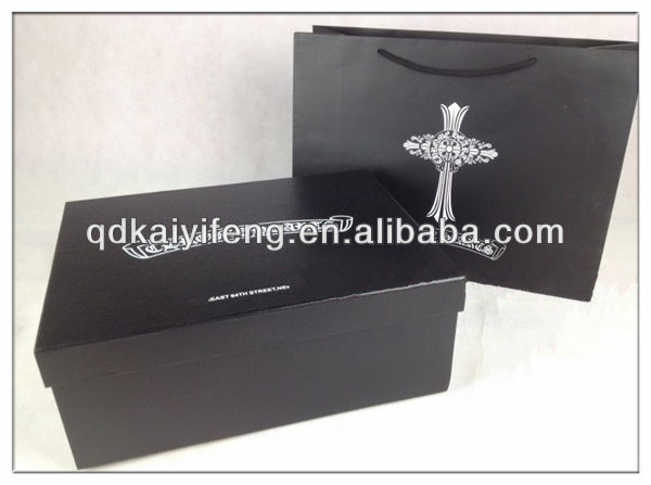Big matte black cardboard gift box with custom logo
