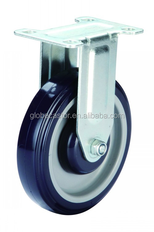 Medium duty fixed trolley blue PU caster wheels