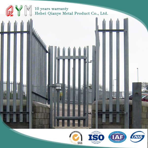 QYM Hot Dipped Galvanized Steel Palisade Fence/palisade fencing