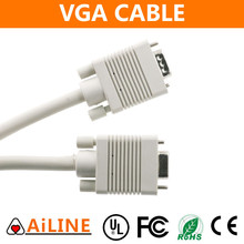 AiLINE Factory Price White Male to Male 10ft VGA Cable for Monitor