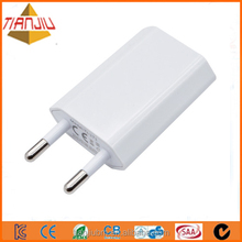 Two types of 5W 5V 1A or 2A usb wall Charger for phone