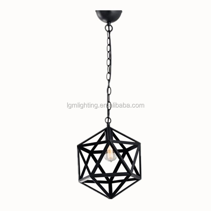 Vintage industrial style metal ceiling lamps black cage pendant lights decorative lighting fixtures living room