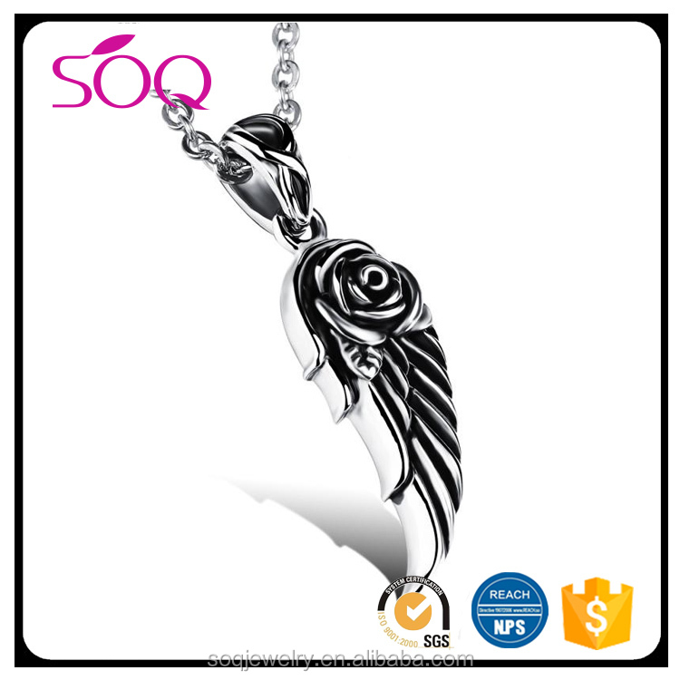 Stainless steel jewelry wholesale men cool accessories angel wings pendant titanium steel necklace
