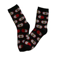 GSW-131 GS custom design cotton knitted women fruit socks with apple design