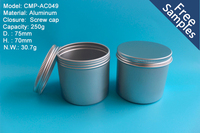 Latest design popular 250g Aluminum round canister tin wholesale