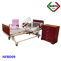 Wooden box bed design of three-function electric home care bed/nursing bed