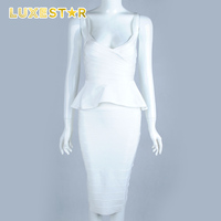 banquet western ladies wear white bandage lotus leaf dress