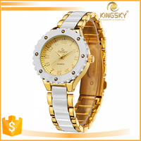 Latest design gold band white silicone watch