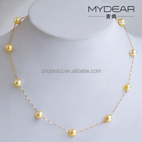 Top design fashion necklace /7-7.5mm seawater pearl with18k golden necklace