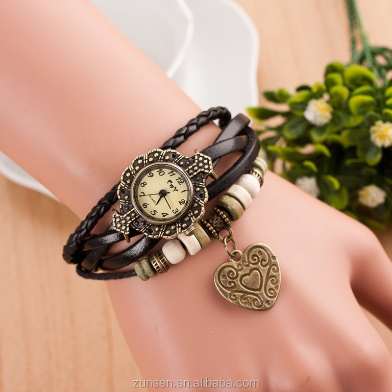 High Quality 2016 Vintage Leather Strap Women Watch Hot Casual Love Heart Pendant Quartz Watch Reloj Mujer Relogio Feminino