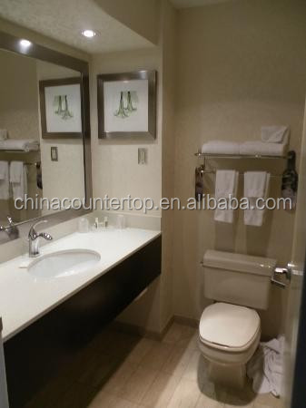 Holiday Inn Hotel White Quartz Countertop with Wood Base Vanity for Hospitality Industry