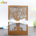 Pure white pearl paper new design laser cut wedding invitation paper cards