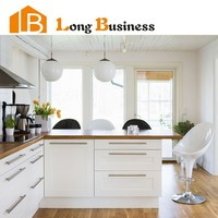LB-DD1213 Low price white county kitchen cabinet with solid wood countertop