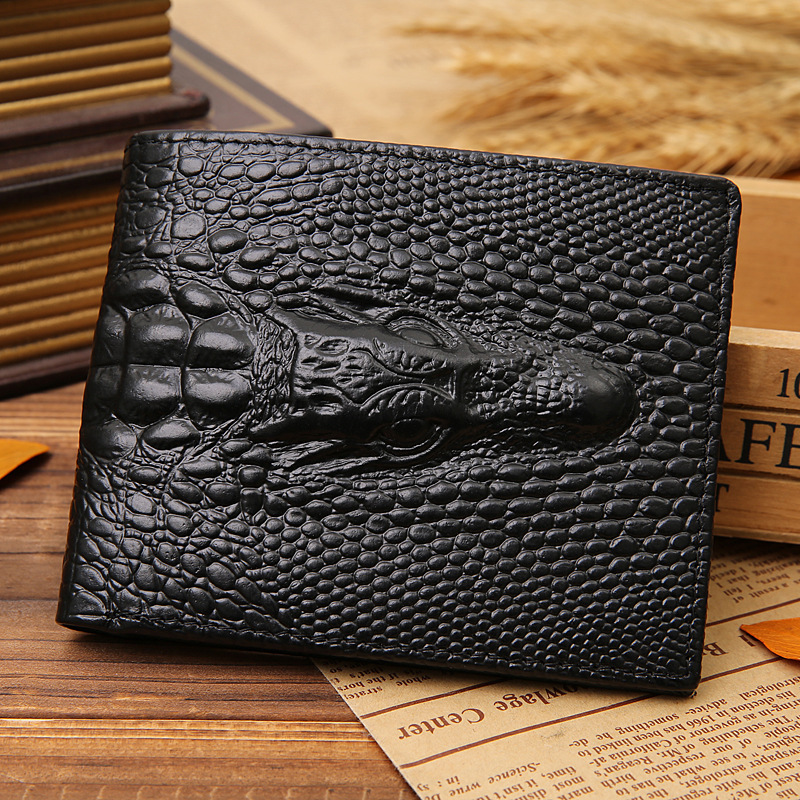 JINBAOLAI fashion business male money clips credit card holder crocodile head pattern men's genuine leather <strong>wallet</strong>