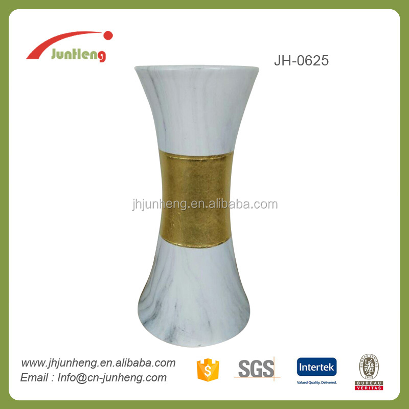 home & garden marble white ceramic gold plated vase, korean pot for flower