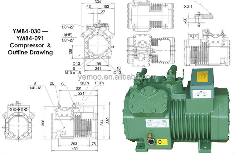 Yemoo semi hermetic piston walk in cooler compressor 10hp for Walk in freezer motor