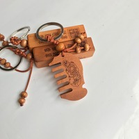 Comb Promotion Customized Wooden seal shape Blank Key Chain