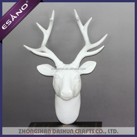 Good quality christmas decoration white resin deer head with antlers