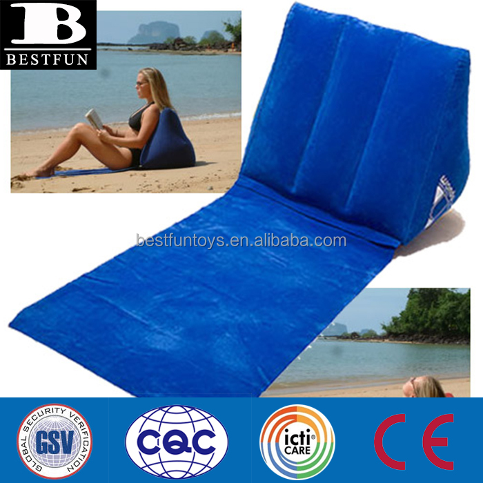 high quality flocking wedge inflatable backrest beach backrest pillow foldable triangle backrest wedge back suport readig pillow