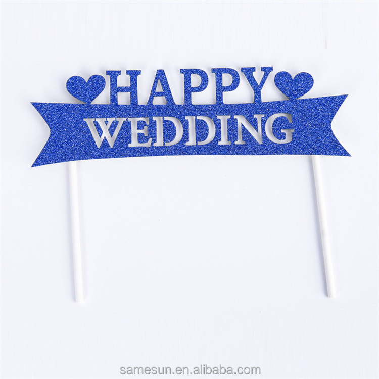 2016 New glitter paper happy wedding decoration cake toppers