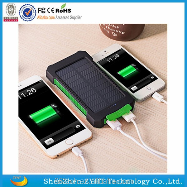 Consumer Electronics <strong>Mobile</strong> Phone Charger Solar 10000mAh Power Bank for Camping and Travelling