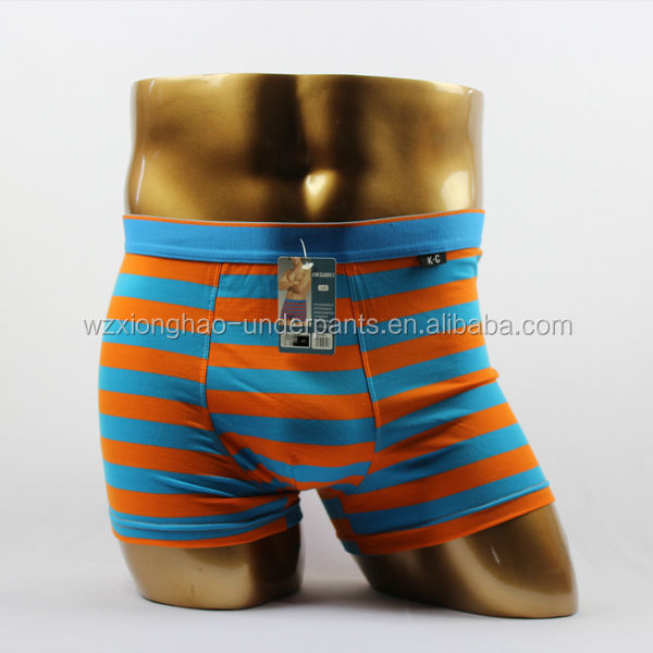 China different styles stripe cotton boxer shorts mens underwear with OEM service